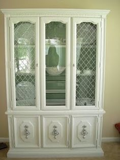 french country china cabinets with chicken wire | Found on hayeshouseblog.blogspot.com