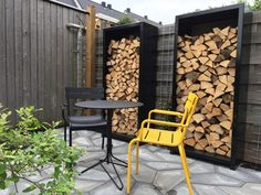 Firewood Shed, Firewood Storage, Yard Design, House Design, Patio Storage, Cast Iron Stove, Wood Rack, Back Patio, Outdoor Chairs