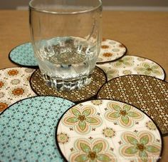 DIY drink coasters using fabric or paper.  Mod Podge finish.  Video tutorial too.