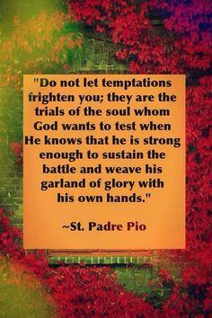 Do not let temptations frighten you. Catholic Quotes, Catholic Prayers, Catholic Saints, Religious Quotes, Roman Catholic, Spiritual Quotes, Catholic Beliefs, Christianity, St Pio Of Pietrelcina