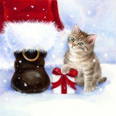 Lisa Alderson - LA - kitten and santa Christmas Scenes, Christmas Animals, Noel Christmas, Merry Christmas And Happy New Year, Christmas Cats, Christmas Pictures, Winter Christmas, Xmas, Father Christmas