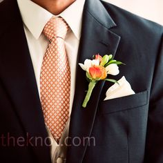 Orange and White Boutonniere