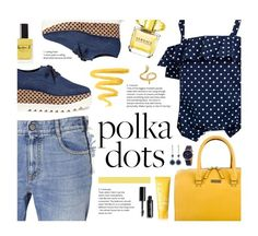 """Polka Dots"" by nataliagaonad ❤ liked on Polyvore featuring Versace, Lauren B. Beauty, Kate Spade, Clinique, STELLA McCARTNEY, J.Crew, Bobbi Brown Cosmetics, Nine West, DKNY and Madina Visconti di Modrone"