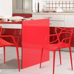 Adeco Designer Abstract Stacking Dining Chairs (Red) - Set of 2 #AdecoHomeGoods #DiningChair #RestaurantChairs
