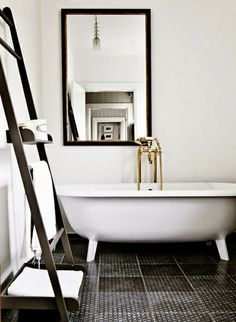 greige: interior design ideas and inspiration for the transitional home : Should I put black in the bathroom?