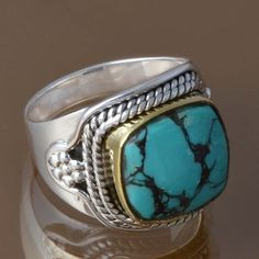 925 STERLING SILVER NEW STYLISH TURQUOISE RING 6.24g DJR8367 SZ-6.75 #Handmade #Ring