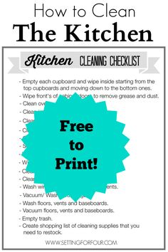 Just in case i forget. How to Clean the Kitchen! Free Printable Cleaning Checklist with Cleaning Tips for a Spic and Span Kitchen! Deep Cleaning Tips, Natural Cleaning Products, Cleaning Solutions, Cleaning Hacks, Cleaning Lists, Cleaning Schedules, Weekly Cleaning, Speed Cleaning, Cleaning Checklist Printable