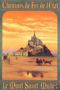 Mont Saint Michel France Vintage Poster Print Art Travel Tourism Excursion | eBay