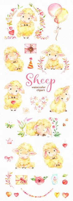 Sheep. Watercolor clip art characters cute heart floral