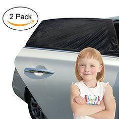 KYG 2 St�ck Universal Auto Sonnenschutz Baby Sonnenblende 113 x 51CM F�r die Windschutzscheibe Sonnenbrand Schwarz