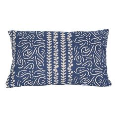 Bright Blue and Cream Lumbar Pillow - $60 Est. Retail - $40 on Chairish.com