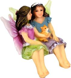 Miniature Fairy Garden Sisters Alice & May (Hand Painted) by Twig & Flower