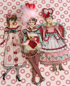 Valentine paper dolls created with Character Constructions art stamps.