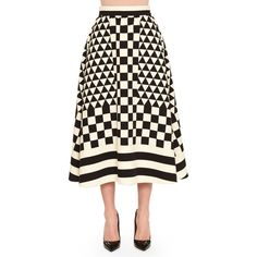 Valentino Geometric Checkerboard-Print Midi Skirt (103,355 THB) ❤ liked on Polyvore featuring skirts, white ruffle skirt, pleated midi skirt, white pleated skirt, mid-calf skirt and print skirt
