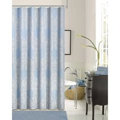 Dainty Home Floral Damask Fabric Shower Curtain - FLDSCBL