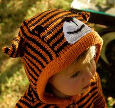 tiger sweater...as a hat? reminds me of calvin and hobbes