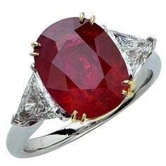 5.15 Carat Burma Ruby Diamond Gold Platinum Ring