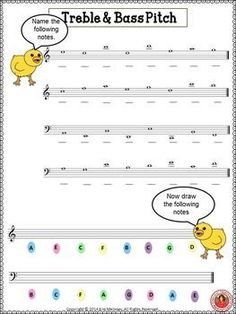 FREE music worksheet!! Treble and Bass Pitch with an EASTER Theme. ♫ CLICK through to download your copy or save for later! ♫