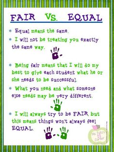 *What is Fair is not always Equal...fair is helping everyone find success