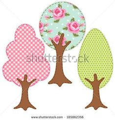 Set of three trees as retro textile applique of various fabrics in shabby chic style Applique Templates, Applique Patterns, Applique Designs, Quilt Patterns, Machine Embroidery Applique, Free Machine Embroidery Designs, Patchwork Baby, Tree Quilt, Fabric Patch