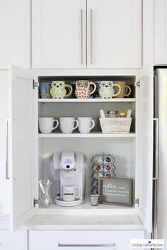 Coffee bar - 10 Clever Organization Ideas for Your Kitchen! Whether you are planning a new kitchen or need some smart Kitchen Organizing Ideas, you will find some great inspiration with these organization tips.