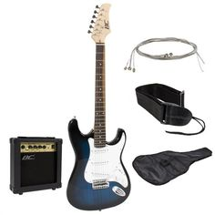 Full Size Blue Electric Guitar with Amp Case and Accessories Pack Beginner Starter Package