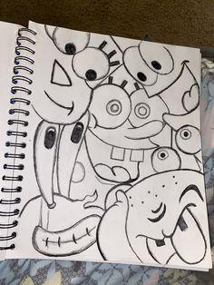 Spongebob Drawings, Easy Cartoon Drawings, Cool Art Drawings, Pencil Art Drawings, Art Drawings Sketches, Easy Graffiti Drawings, Spongebob Painting, Graffiti Doodles, Cute Doodle Art