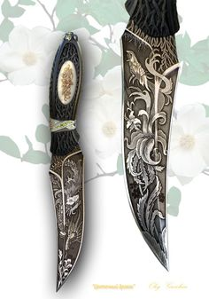 Knifemaker O Goushcin. Industrial damask, ebony, mother of pearl, gold, silver, chrysolite. Forging, engraving, carving, inlay gold pearl, jewelry techniques, artistic etching. Total length: 26.5 cm. Blade length: 15cm .