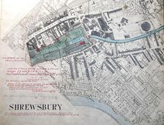 1894 map showing Castlefields. You can see Canal Wharf and the old Gas Works. Family History, Old Town, Old Things, Victorian, Shrewsbury Shropshire, Maps, Fun, Pheasant, Fields