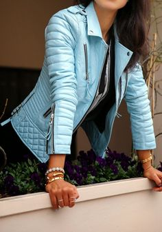 Blue Plain Zipper Turndown Collar PU Leather Jacket