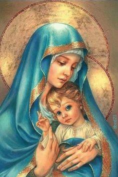 A mãe de Deus e o bebê Jesus.gif