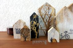 Altered wooden blocks by Hermine Koster. These are beautiful! Clay Houses, Ceramic Houses, Art Houses, Wood Houses, Small Wood Projects, Craft Projects, House In The Clouds, House Drawing, Encaustic Art