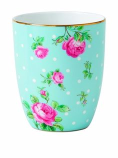 Royal Albert New Country Roses Polka Dot Tumbler, Blue