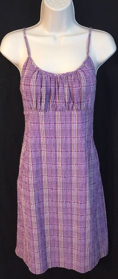 XHILARATION Womens/Jrs Dress Large Purple Plaid Sundress Spaghetti Strap Empire #Xhilaration #BeachDressSundress #SummerBeach