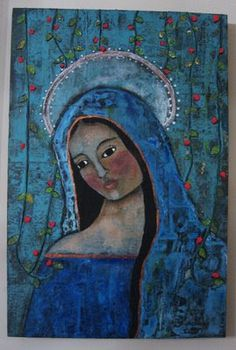 By Denise Lynch (Mountain Laurel Folk Art Studios) --Folk art painting of Mary with strings of viney roses inthe background. Lots of texture with collage papers, string, etc. Art Installation, Painting Collage, Owl Paintings, Indian Paintings, Painting Tips, Madonna, Bullet Art, Art Journal Techniques, Mexican Art