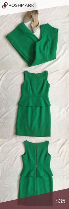 """The Limited Peplum Sheath Dress The Limited Peplum Sheath Dress  - Size 6  - Kelly green, textured  - Lined, back zip, back slit  - Shell: 99% polyester, 1% spandex  - Lining: 100% polyester  - Length from top of shoulder to bottom of dress 36"""" approximately  - Great for the office The Limited Dresses"""