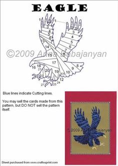 Eagle on Craftsuprint designed by Anna Babajanyan - A great pattern of an eagle. Easy folding and cutting, and simply perfect for Male Birthday cards! - Now available for download!