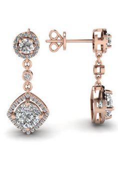 14k Rose Gold Dangle In White Diamonds