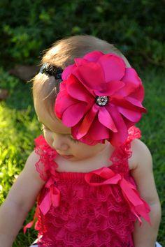 hot pink handmade headband - baby headband - childrens headband - girls - hair - accessories - bow - gifts - photo props - newborn - infant. $9.75, via Etsy.