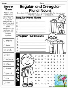 irregular plural nouns worksheet | spelling and grammar ...