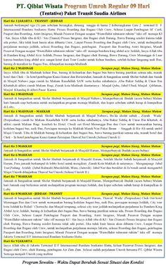 Program (Itinerary) 09 Hari Transit By Saudia Airlines