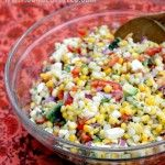 "Corn Salad w/ Queso Fresco-Something that you can eat with your favorite grilled Mexican food or tacos or a spoon straight from the source, as well as ""salad,"" which is a word we sometimes give marinated grains and vegetables so we can feel better about ourselves when we eat them on tortilla chips. Which I totally recommend here."