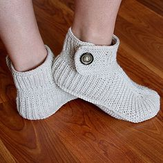 Knitting Pattern for Cuffed Slipper Boots - #ad Adult sizes. DK yarn knit in the round. Winter Boots tba
