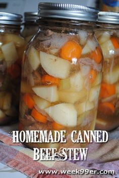 Substituted chicken for the beef and was awesome! Homemade Canned Beef Stew - Have to use a pressure cooker for this one. Canned Beef Stew Recipe, Canning Soup Recipes, Pressure Canning Recipes, Canned Meat, Canned Food Storage, Pressure Cooker Recipes, Cooking Recipes, Canning 101, Pressure Cooking