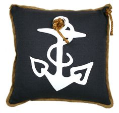 Nautical Decor, Anchor with Grommet Pillow