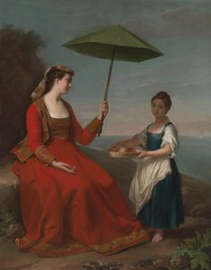 George James, active from 1755-died 1795, British, A Portrait of a Lady, full length, Seated on a Rock holding a Parasol, With a Child holding a Basket of Fruit standing nearby, ,