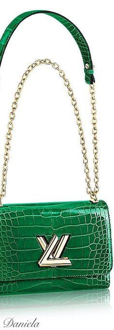 Louis Vuitton Green Crocodile Twist Bag