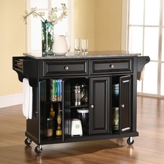Crosley Kitchen Cart / Island in Black with Solid Granite Top in Gray - Kitchen Island - Portable Kitchen Islands Shop