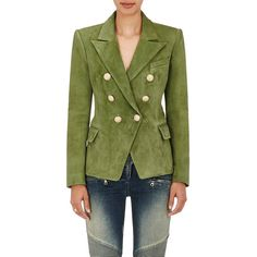 Balmain Women's Suede Double-Breasted Blazer. ($3,975) ❤ liked on Polyvore featuring outerwear, jackets, blazers, blazer jacket, peak lapel blazer, green military jackets, double-breasted blazer and suede jacket