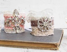 Rhinestone & lace cuff bracelet